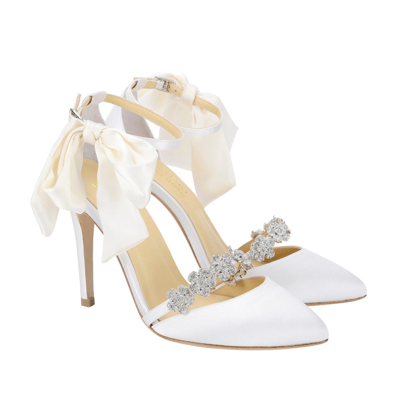 e000db2cb21f Ivory Wedding Shoes Strappy Heels with Removable Silver