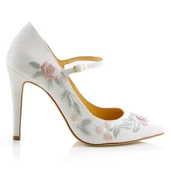 Chaussures Chaussures Chaussures de mariage lin brodé floral.  Mary Jane mariage talons Bella Belle chaussures Adelaide   Respectueux De L'environnement  a9a459