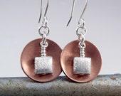 Copper Earrings, 7th Anniversary Gift, Cool Earrings
