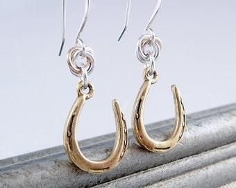 Horseshoe Earrings, Gold Earrings for Women, Nickel Free Earrings, Gold Drop Earrings