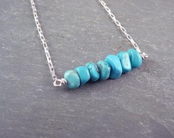 Turquoise Choker, Silver Necklace for Women, Womens Choker