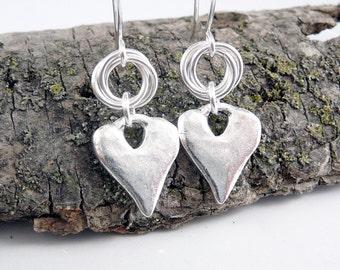 Heart Shaped Earrings, Nickel Free Earrings, Love Jewelry