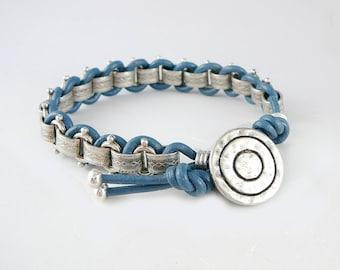 Blue Leather Bracelet for Women, Friendship Jewelry, Leather Cord Bracelet