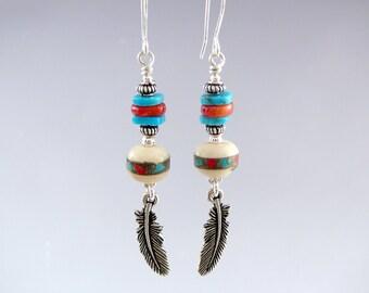 Turquoise Drop Earrings, Nickel Free Earrings, Western Jewelry, Feather Earrings