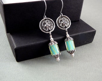 Silver Dangle Earrings, Cool Earrings, Funky Earrings, Glass Earrings