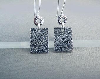 Silver Dangle Earrings for Women, Flower Earrings