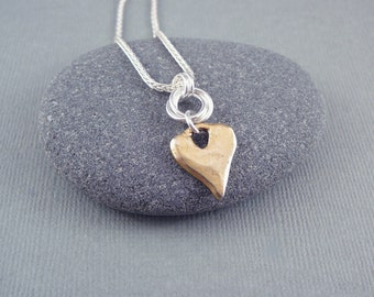 Gold Heart Necklace, Simple Gold Necklace, Romantic Gift for Her