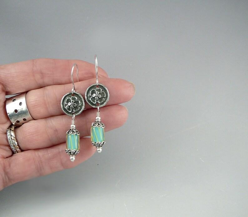 Glass Earrings Silver Dangle Earrings Funky Earrings Cool Earrings