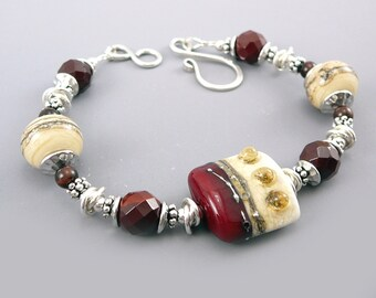 Glass Bead Bracelet, Red Jewelry, Maroon Jewelry, 925 Jewelry