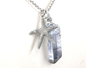 Mens Crystal Necklace w/ Starfish Pendant. Jewelry for Sea Lovers. Stainless Steel Chain Necklace. Gift for Him and Her.