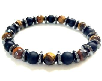 Guy's Bead Bracelet. Men's Gemstone Jewelry. Black Onyx, Tigers Eye, Hermatite Bracelet. Stretch Bracelet. Elastic Bracelet. Unisex Jewelry