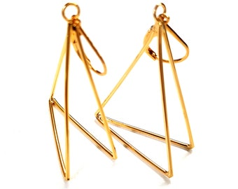 Gold Triangle Earrings. Geometric Pyramid Earrings. Long Dangle Earrings. Women's Earrings. Gift for Girlfriend / Wife / Mother