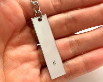 Mens Personalized Keychain. Customized Initial Keychain. Matching Couple Gift. Monogram Key Ring. Fathers Day Gift.