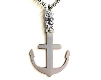 Mens Anchor Necklace. Guys Pendent Necklace. Stainless Steel Necklace. Nautical Jewelry for Him and Her. Unisex Necklace