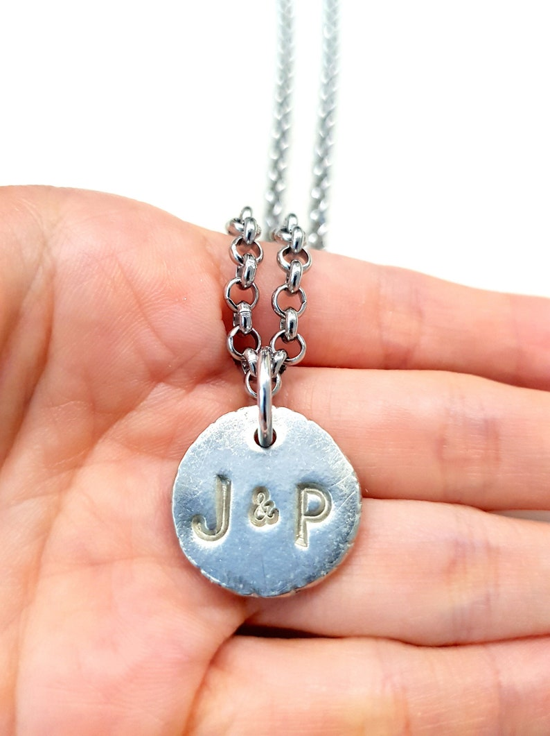 Personalized Couple Necklace. Mens Initial Necklace. Coin image 0