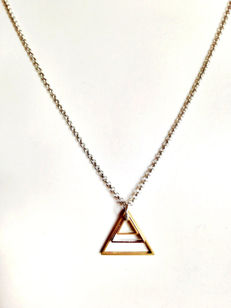 Mens Necklace w/ Triangle Pendant. Guy Chain Necklace. image 0
