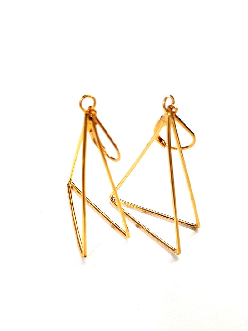 Gold Triangle Earrings. Geometric Pyramid Earrings. Long image 0