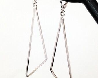 Silver Triangle Earrings. Hoop Earrings. Geometric Minimalist Earrings. Long Dangle Earrings. Women's Earrings. Gift for Wife / Mother