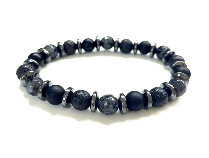 Guy's Bead Bracelet. Men's Gemstone Jewelry. Black image 0