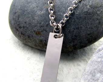 Personalized Mens Necklace. Customized Initial Necklace. Stainless Steel Monogram Necklace. Matching Couple Necklace