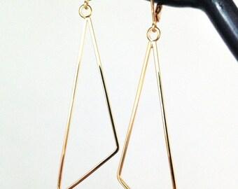Gold Hoop Earrings. Minimalist Earrings. Geometric Earrings. Long Dangle Earrings. Women's Earrings. Gift for Wife / Mother