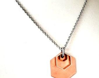 Geometric Mens Necklace w/ Hexagon Pendant. Mixed Metal Geometric Necklace. Stainless Steel Necklace Unisex Jewelry for Him and Her