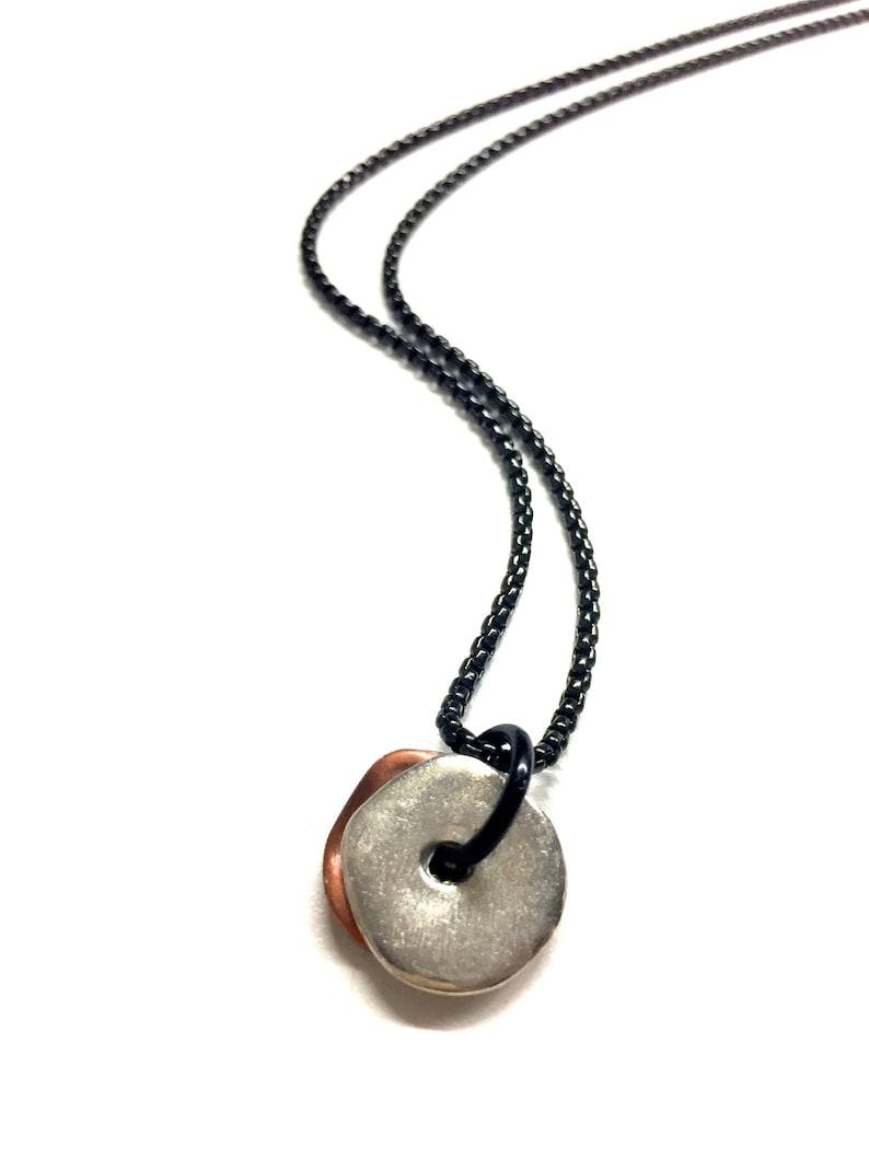 Cool Mens Necklace w/ Silver Copper Pendant. Mens Chain image 0