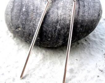Silver Bar Earrings. Stick Earrings. Minimalist Earrings. Long Dangle Earrings. Women's Earrings. Gift for Her