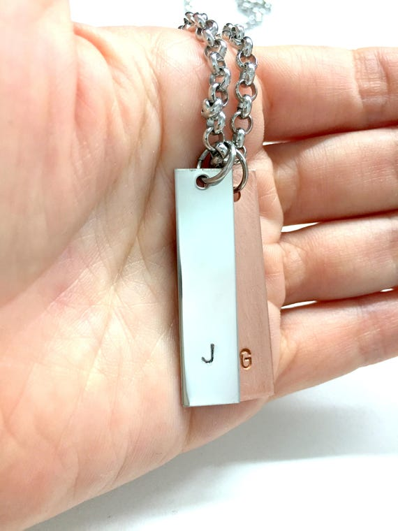 Personalized Mens Necklace Guys Initial Necklace Gift for Him and Her Customized Couple Necklace Stainless Steel Jewelry