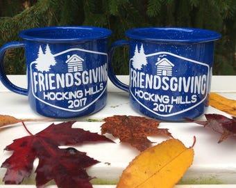 Custom Enamel Mug, Friendsmas, Thanksgiving, Friendsgiving, Hostess Gift, Co-worker Gift, Gift Exchange, Teacher Gift, Birthday Favor, Propo