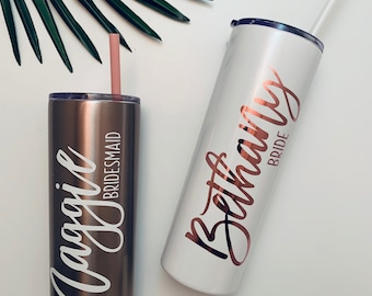 Custom Bridesmaid Tumbler, Bridesmaid Proposal, Bridesmaid Gift, Skinny Tumbler, Personalize Tumbler with Straw, Bachelorette Party Gift