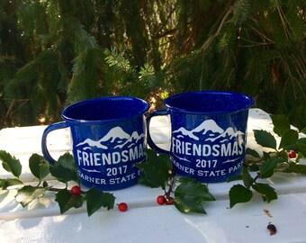 Friendsmas, Chrismukkah, Custom Enamel Mugs, Friendsgiving Gift, Thanksgiving, Hostess Gift, Co-worker Gift, Gift Exchange, Teacher Gift