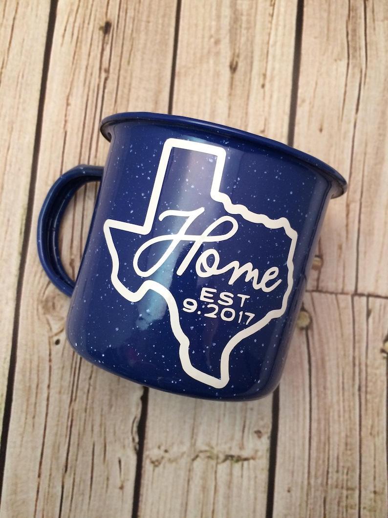 Housewarming Gift Enamel Mug State Mug Wedding Gift New image 0