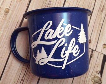 Bachelor Party Gift, Custom Enamel Mug, Bachelorette Party Gift, Camping Mug, Lake Life, Glamping, Groomsman Gift, Bridesmaid Proposal Box