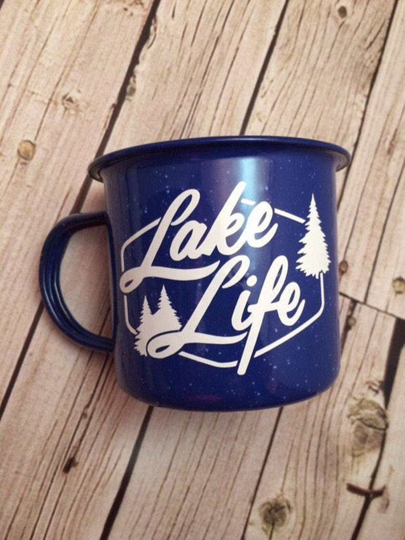 Custom Enamel Mug Bosses Gift Camping Mug Lake Life image 0