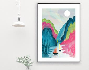 Norway Print, Norway Fjord Art Print, Large Wall Art, Poster, Landscape Illustration, Scandinavian Travel Art, Home Decor, Gift