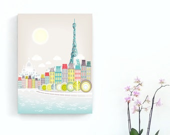 Paris bedroom art print, Eiffel Tower decor, Gift for her, Wedding gift, Anniversary gift, Travel Art, Paris skyline, Paris illustration