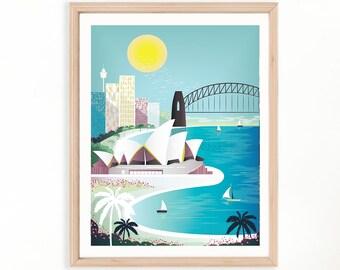 Sydney Poster   Sydney Opera House   Australia Wall Art   Travel Poster   Cityscape Wall Art : SYDPP01