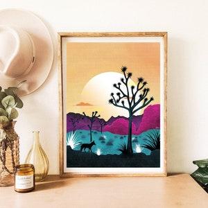 Prickly Pear Set of 4 Desert Plant Prints and Joshua Tree Saguaro Yucca