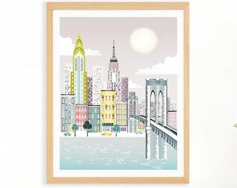 New York Wall Art   City Print    New York Print   Manhattan Print   Nursery Travel Art