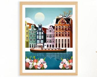 Amsterdam Poster   Tulip print   Amsterdam Print   Cityscape Wall Art   CODE: AMS4PP