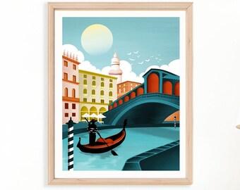 Venice Print   Rialto bridge   Italy Wall Art   Venice Gondola   Cityscape Wall Art