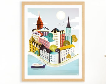 Stockholm Print, Scandinavian Print, Wall Art from Sweden, Paper a4 Print, Cityscape, Illustration, Art For Home, Nursery, Style: STSPPX1