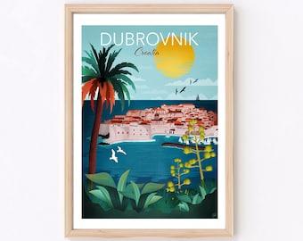 Dubrovnik Print   Croatia Print   Dubrovnik Travel Poster   Travel Wall Art   Europe Travel Poster