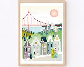 San Francisco Print | California Wall Art | Golden Gate Bridge | Travel Gallery Wall
