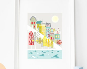 San Francisco Stadsgezichten, A4 papier Kunstdruk, Stadsbeeld afdruk, illustratie, Cadeau idee, Kunst voor woonkamer en kinderkamer