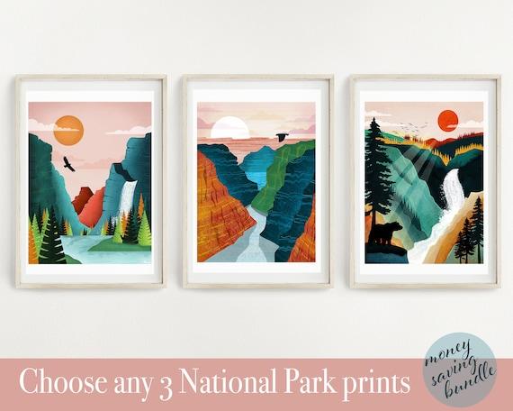 National Park Poster Set Of 3 Prints National Park Print Etsy
