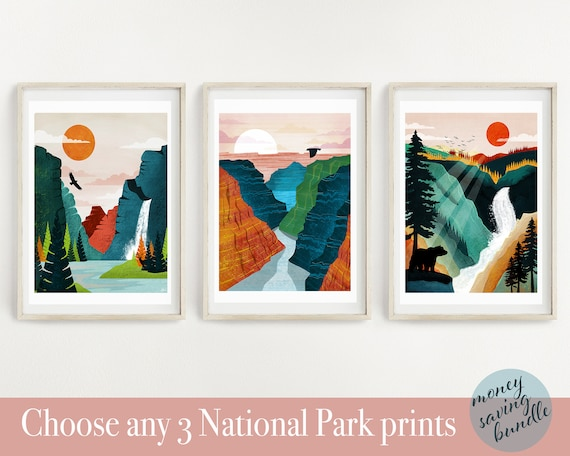 National Park Poster Set Of 3 Prints National Park Print Etsy