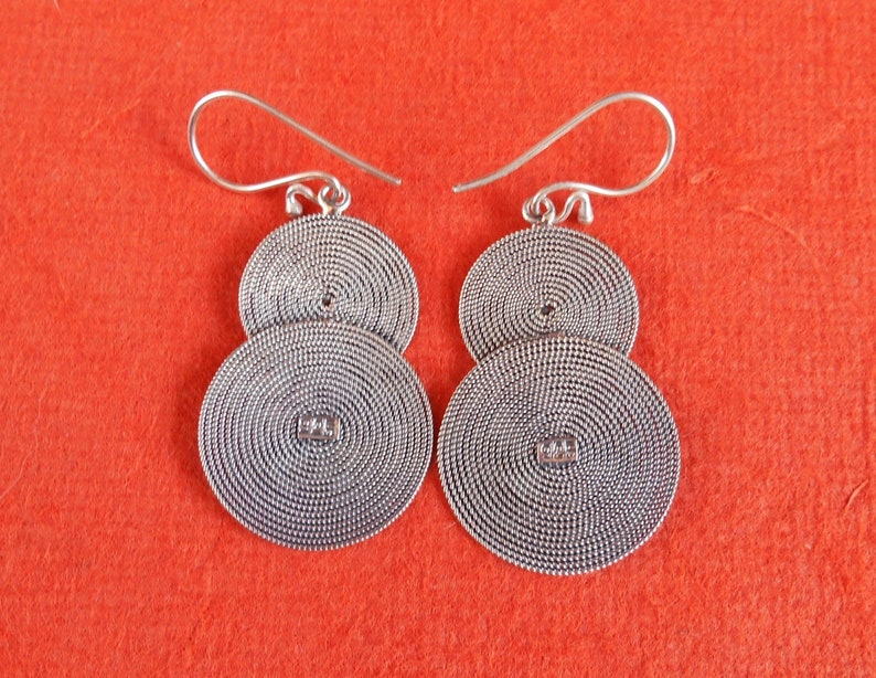#790m Double Circle Silver sterling dangle Earrings  2 inch long  silver 925  Handmade Bali jewelry