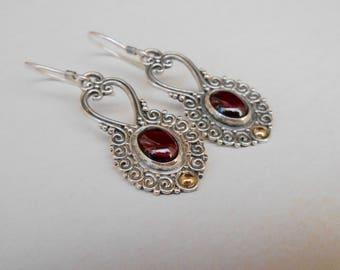 Sterling Silver Garnet gemstone gold dangle earrings / 1.75 inch long / silver 925 /  Balinese handmade jewelry